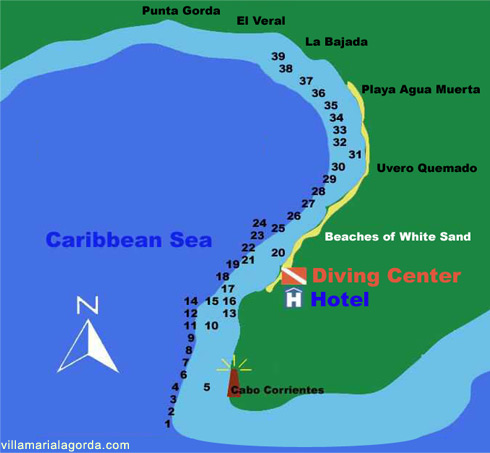 Dive Sites Map Location in Maria La Gorda